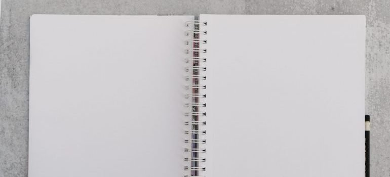 long distance moving checklist - open notebook