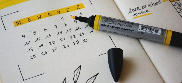 calendar with yellow marker
