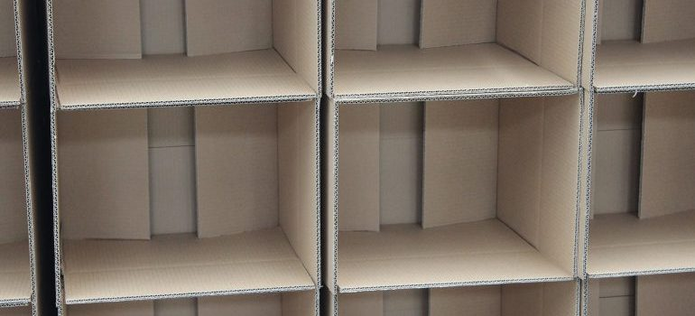 features to look for in storage facility - cardboard boxes