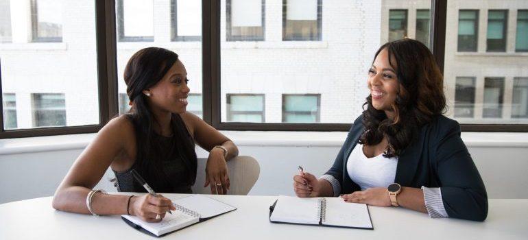 two women in the office