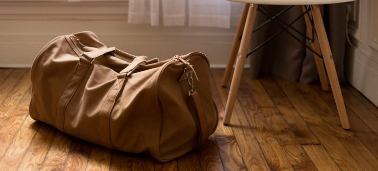 bag next to a chair
