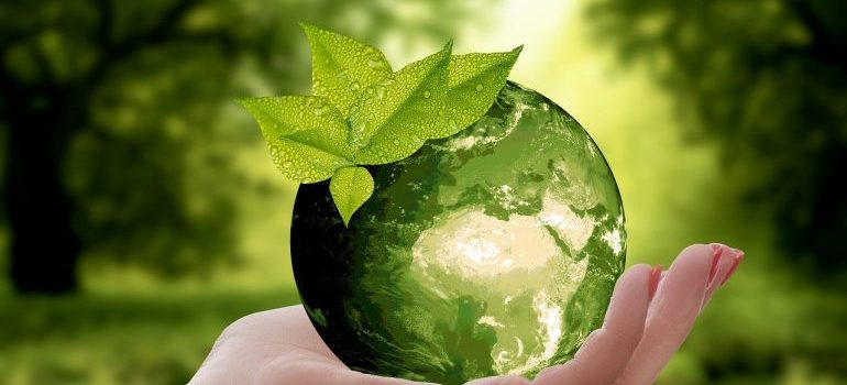 hand holding a green planet earth